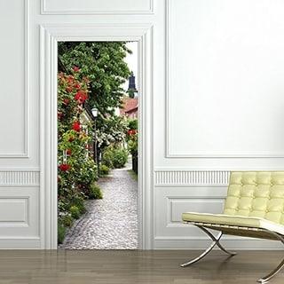 3d Door Wallpaper Murals Wall Stickers Rose Town Self-adhesive Removable Art Door Decals Wall Vinyl