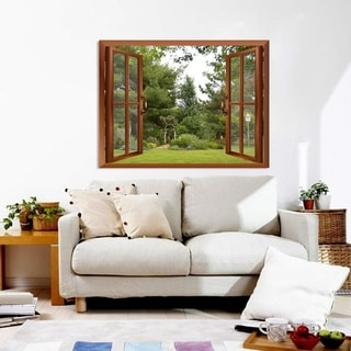 Backyard View from inside a Window Wall Mural Removable Sticker Home Decor Wall Vinyl