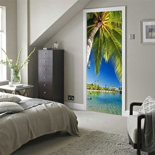 Top Product Reviews For Door Wall Mural Wallpaper Stickers Palm Tree