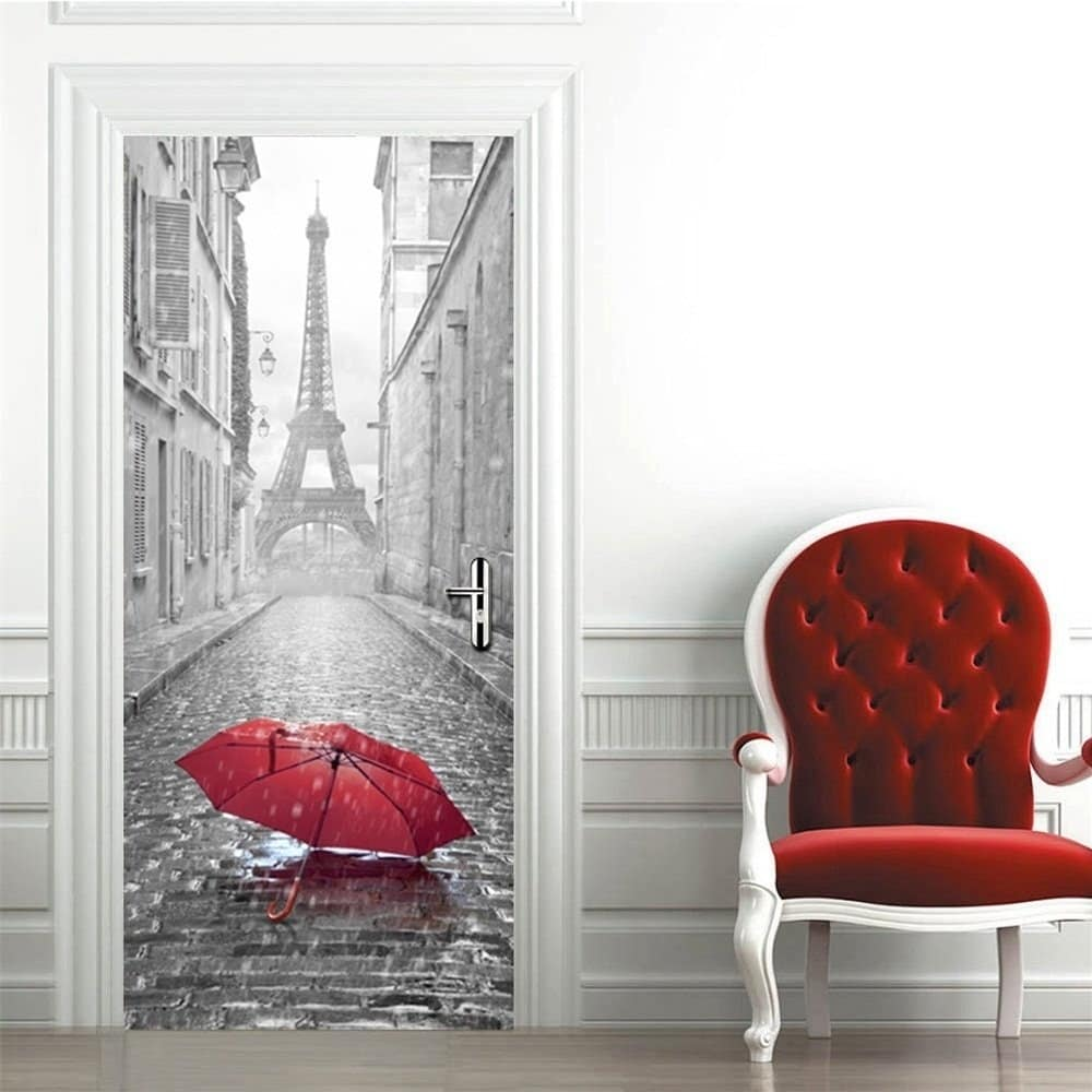 Shop 3d Eiffel Tower Door Wall Mural Wallpaper Removable Stickers For Home Decoration Wall Vinyl On Sale Overstock 17815868