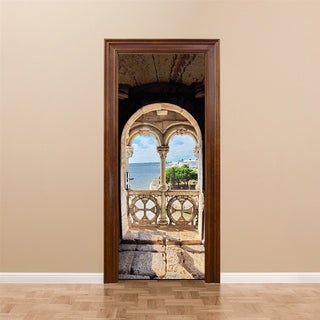 3d Door Wallpaper Portuguese Sea View for Home Decoration Self-adhesive Removable Wall Vinyl
