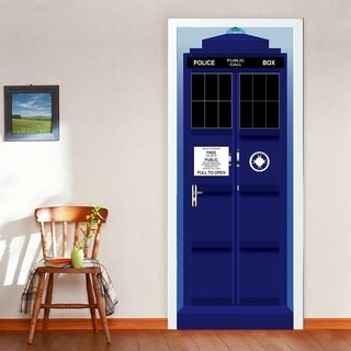 3D Police Box Door Wall Mural Wallpaper Stickers Removable Decals for Kid Baby Nursery Decoration Wall Vinyl