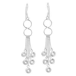 Infinite Spiral Chandelier Sterling Silver Earrings