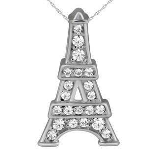 10K White Gold Diamond Accent Eiffel Tower Pendant