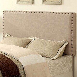 Benzara Herstal Contemporary Ivory Fabric Full Queen Headboard