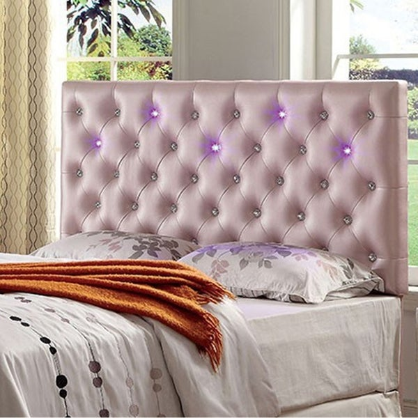 Upholstered King Size Headboard With Led Lighting Pink
