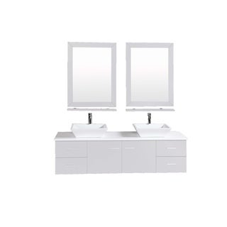 Totti Wave 60 inch Grey Modern Double Sink Bathroom Vanity With Counter-Top And Double Sinks