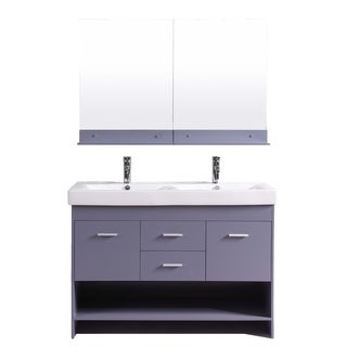 Totti Gloria 48 inch Grey Double Sink Bathroom Vanity with White Integrated Double Porcelain Sink
