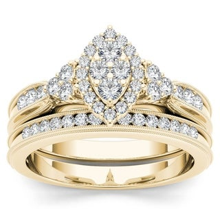 De Couer 10k Yellow Gold 1/2ct TDW Diamond Halo Engagement Ring Set