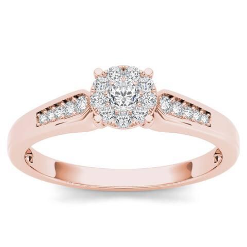 De Couer 10k Rose Gold 1/4ct TDW Diamond Cluster Engagement Ring - Pink