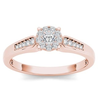 De Couer 10k Rose Gold 1/4ct TDW Diamond Cluster Engagement Ring - Pink