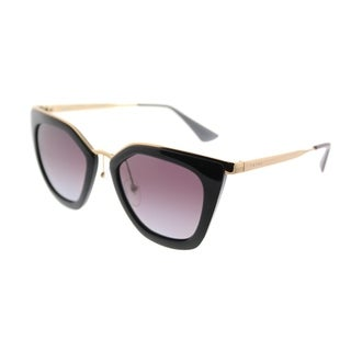 Prada Cat Eye PR 53SS 1AB2A0 Womens Black Gold Frame Grey Gradient Polarized Lens Sunglasses