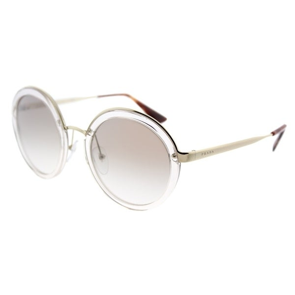 922668397f Prada Round PR 50TS VYT4O0 Womens Transparent Brown Frame Silver Gradient  Mirrored Lens Sunglasses