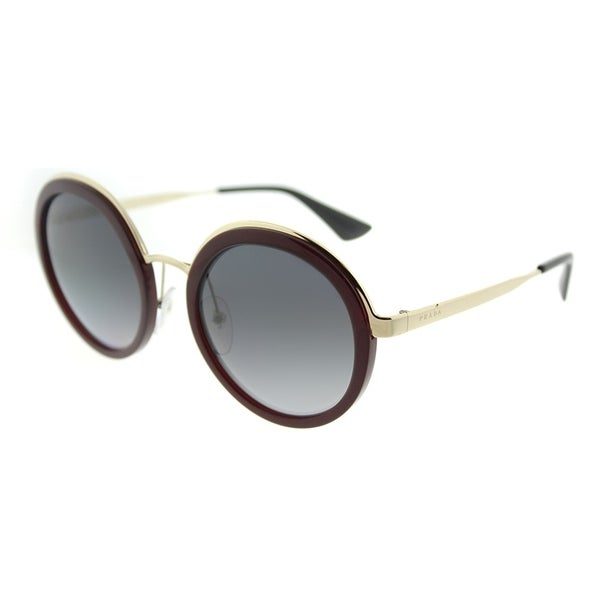 546cfef7425 Prada Round PR 50TS VHW5W1 Womens Bordeaux Frame Grey Gradient Polarized  Lens Sunglasses