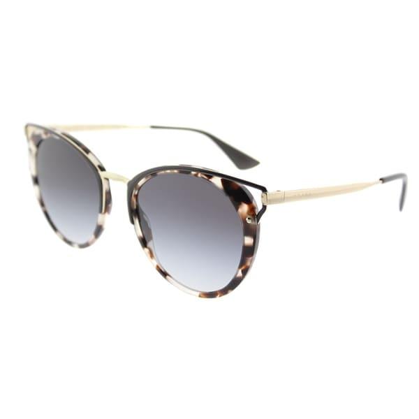 13dc7543b08 Prada Round PR 66TS UAO5D1 Womens Spotted Opal Brown Frame Grey Gradient  Lens Sunglasses