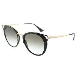Prada Round PR 66TS 1AB0A7 Womens Black Frame Grey Gradient Lens Sunglasses