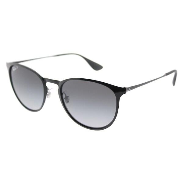 28004745c51f ... Women s Sunglasses     Fashion Sunglasses. Ray-Ban Round RB 3539 002 T3  Unisex Shiny Black Frame Grey Gradient Polarized