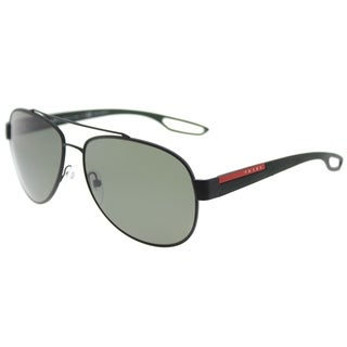 Prada Linea Rossa Aviator PS 55QS DG05X1 Unisex Black Rubber Frame Green Polarized Lens Sunglasses