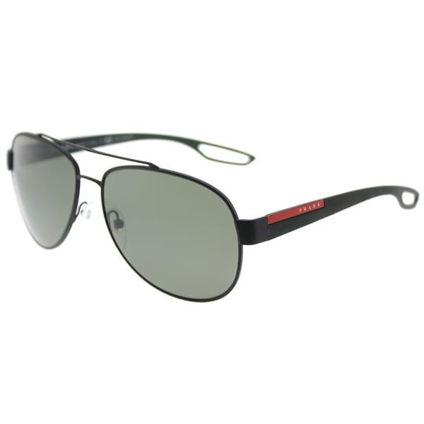 ee6030984c4 Prada Linea Rossa Aviator PS 55QS DG05X1 Unisex Black Rubber Frame Green  Polarized Lens Sunglasses