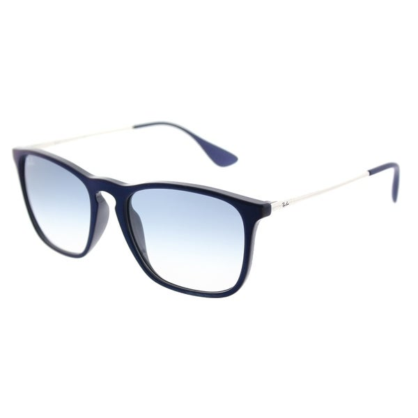 d1ed37f07f4 Ray-Ban Square RB 4187 631719 Unisex Shiny Blue Frame Light Blue Gradient  Lens Sunglasses