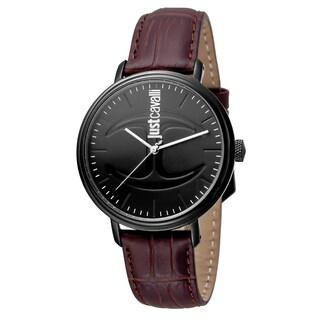 Just Cavalli Men's Quartz Leather Strap With Interchangable Canvas Strap Watch Set