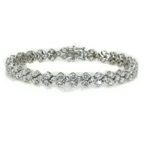 Michael Valitutti Sterling Silver Round Cubic Zirconia Bracelet