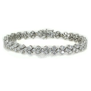 Michael Valitutti Sterling Silver Round Cubic Zirconia Bracelet