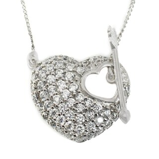 Michael Valitutti 10k White Gold Round Cubic Zirconia Heart & Arrow Necklace
