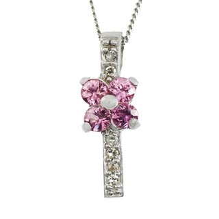 Michael Valitutti 14K White Gold Pink Sapphire & Diamond Flower Pendant