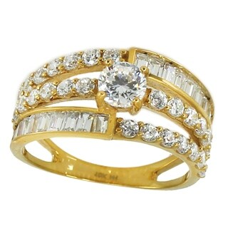 Michael Valitutti 10K Yellow Gold Round Baguette Cubic Zirconia Ring
