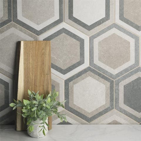 SomerTile 8.625x9.875-inch Trafico Hex Combi Grey Porcelain Floor and Wall Tile (25 tiles/11.56 sqft.)
