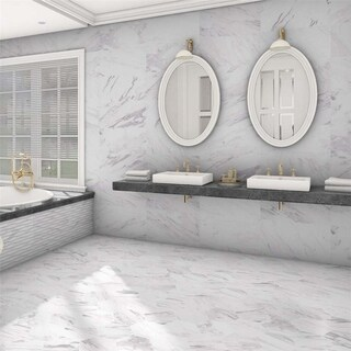 SomerTile 12.875x25.625-inch Marmol Carrara Porcelain Floor and Wall Tile (6 tiles/14.15 sqft.)