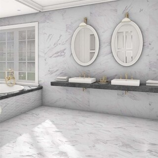 Link to SomerTile 12.875x25.625-inch Marmol Carrara Porcelain Floor and Wall Tile (6 tiles/14.15 sqft.) Similar Items in Tile
