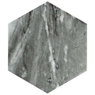 SomerTile 7x8-inch Carra Bardiglio Hexagon Dark Porcelain Floor and Wall Tile (35 tiles/11 sqft.)