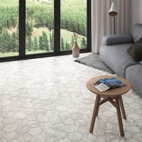 SomerTile 7x8-inch Carra Bardiglio Hexagon Light Porcelain Floor and Wall Tile (35 tiles/11 sqft.)