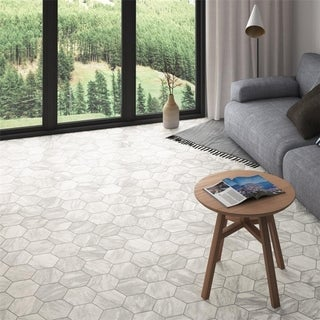 SomerTile 7x8-inch Carra Bardiglio Hexagon Light Porcelain Floor and Wall Tile (25 tiles/7.84 sqft.)
