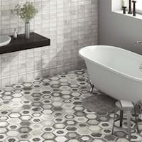 SomerTile 7x8-inch Carra Bardiglio Hexagon Geo Porcelain Floor and Wall Tile (35 tiles/11 sqft.)