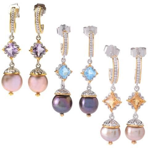 Michael Valitutti Palladium Silver Freshwater Cultured Pearl Drop Earrings