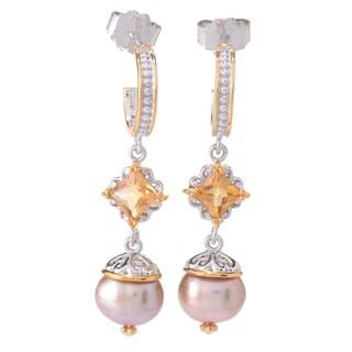 Michael Valitutti Palladium Silver Freshwater Cultured Pearl Drop Earrings (Option: N - Gold)