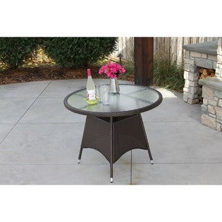 Single Round Brown Wicker Dining Table w/ Rec'd Glass & Storage Cover