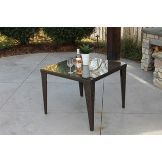 Square Brown Wicker Dining Table Topped With Glass & Outdoor Storage Cover