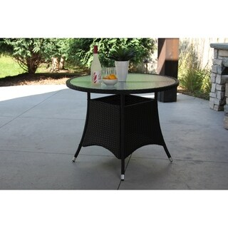 Single Round Black Wicker Dining Table w/ Rec'd Glass