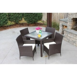 Single Square Brown Wicker Dining Table w/ Rec'd Glass & Storage Cover