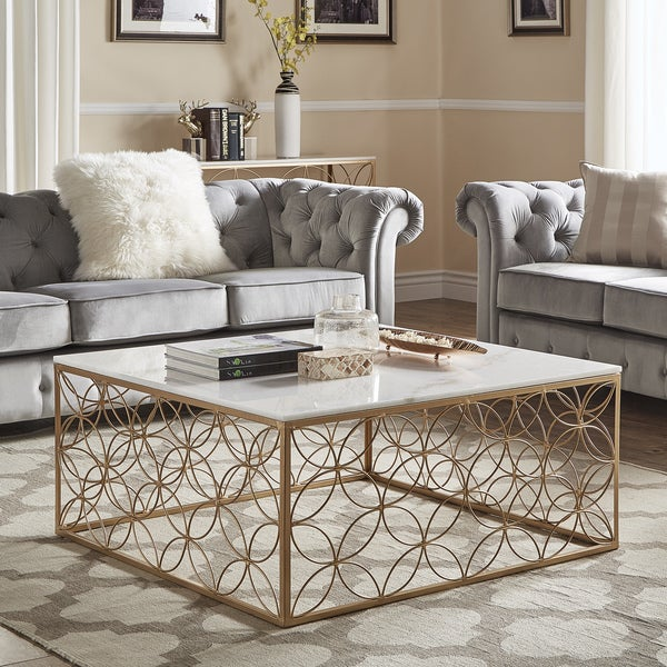 Axel Gold Accent Tables With Marble Tops By Inspire Q Bold