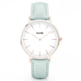 Cluse LA BOHÈME Women's CL18021 Mint Pastel Leather Strap White Dial Rose Gold Accents Watch