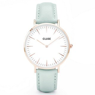 Cluse LA BOHÈME Women's CL18021 Mint Pastel Leather Strap White Dial Rose Gold Accents Watch