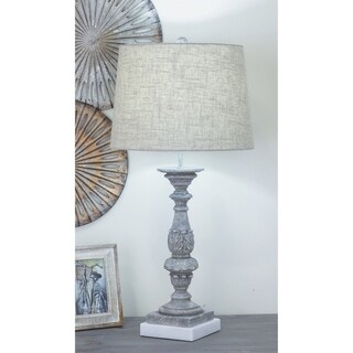Urban Designs Polystone Greywash Sculpted 30-Inch Table Lamp (Set of 2)