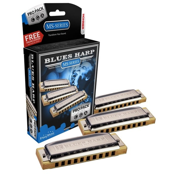 Hohner MS System Blues Harp Pro Harmonica - 3-Pack - Keys C, G and A