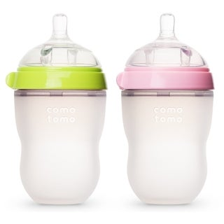 Comotomo Natural Feel Green/Pink 8-ounce Silicone Bottle (Pack of 2)