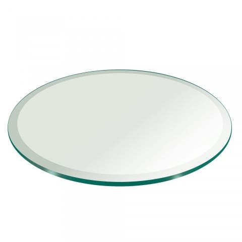 """1/4"""" Thick Round Glass Table Top 1"""" Beveled Polish Tempered"""